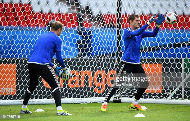 Ireland goalkeepers Michael McGovern and Roy Carroll in action during Northern Ireland training ahead of their Euro 2016 match against Wales at Parc...