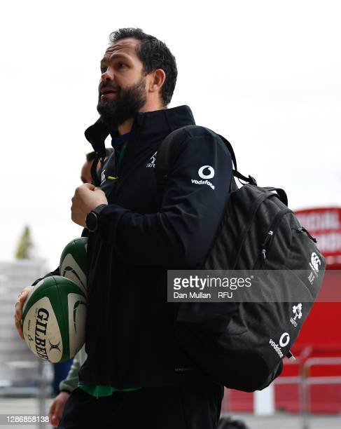 Ireland, Head Coach Andy Farrell arrives ahead of the England v Ireland Quilter International match, part of the Autumn Nations Cup at Twickenham...