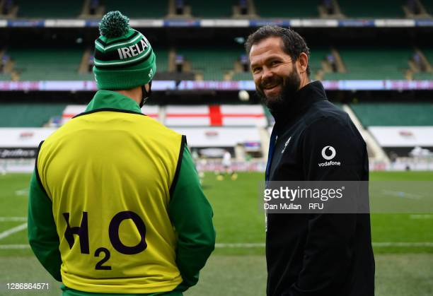 Ireland Head Coach, Andy Farrell talks to Johnny Sexton of Ireland ahead of the England v Ireland Quilter International match, part of the Autumn...
