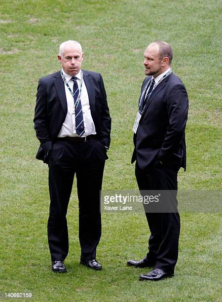 Ireland head coach Declan Kidney and his assistant look on after the RBS Six Nations Tournament between France and Ireland at Stade de France on...