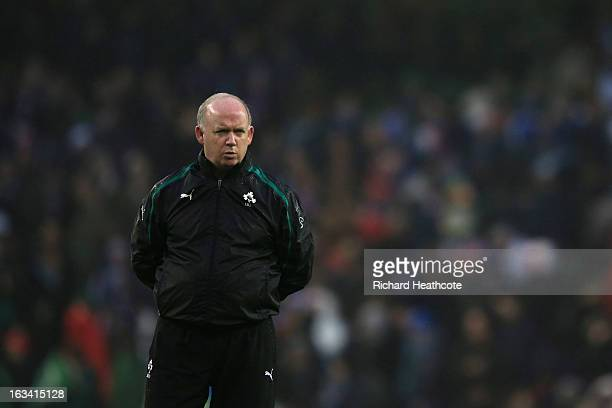 Ireland head coach Declan Kidney looks on as the teams warm up during the RBS Six Nations match between Ireland and France at Aviva Stadium on March...