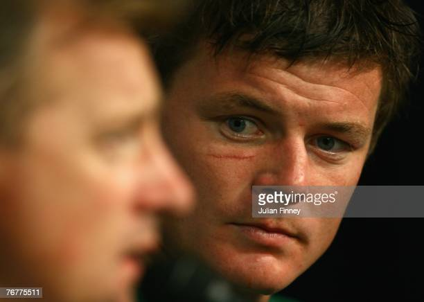 Ireland Head Coach Eddie O'Sullivan answers questions from the media as Brian O'Driscoll looks on after Match Sixteen of the Rugby World Cup 2007...