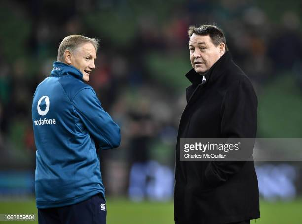 Ireland head coach Joe Schmidt and New Zealand head coach Steve Hansen chat before the International Friendly rugby match between Ireland and New...