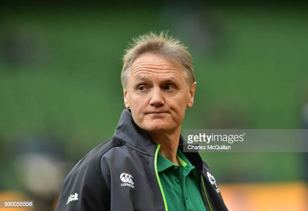 Ireland head coach Joe Schmidt during the Ireland v Scotland Six Nations rugby championship game at Aviva Stadium on March 10 2018 in Dublin Ireland