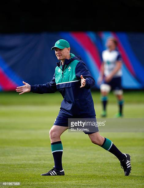 Ireland head coach Joe Schmidt reacts during Ireland training ahead of their final group match against France at Newport High school on October 9...