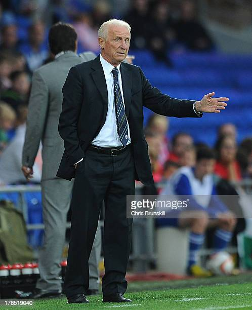 Ireland manager Giovanni Trapattoni gestures from the touchline during the International Friendly match between Wales and Ireland at Cardiff City...