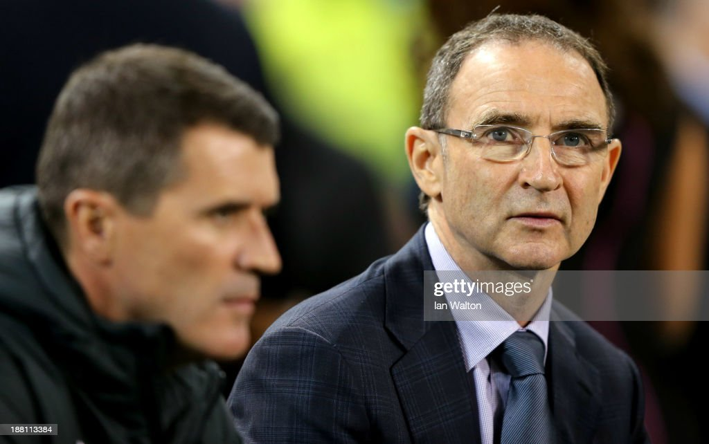 Ireland manager Martin O'Neill and Assistant manager Roy Keane during the International Friendly match between Republic of Ireland and Latvia at Aviva Stadium on November 15, 2013 in Dublin, Ireland.