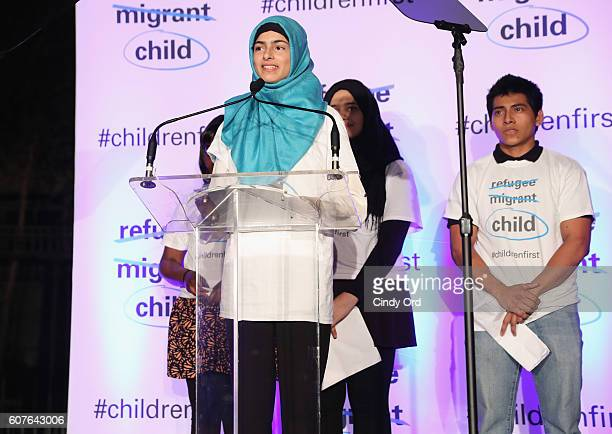 Ireland Natcom youth delegate Minahil Sarfraz speaks at US Fund for UNICEF as it calls on world leaders to put children first during a candlelight...