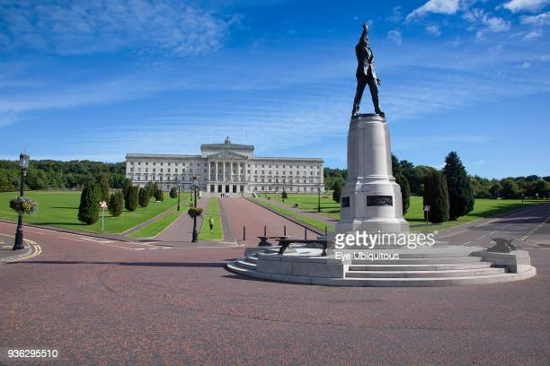 Ireland North Belfast Stormont assembly building with statue of Lord Edward Carson in the foreground