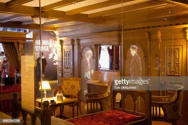 Ireland, North, Belfast, Titanic quarter visitor attraction, replica first class cabin.