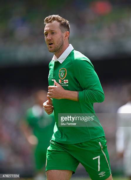 Ireland player Aiden McGeady in action during the International friendly match between Republic of Ireland and England at Aviva Stadium on June 7...