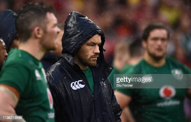 Ireland player Cian Healy looks on after the Guinness Six Nations match between Wales and Ireland at Principality Stadium on March 16, 2019 in...
