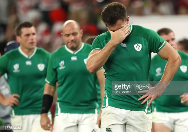 Ireland player Jacob Stockdale shows dejection after the Rugby World Cup 2019 Group A game between Japan and Ireland at Shizuoka Stadium Ecopa on...