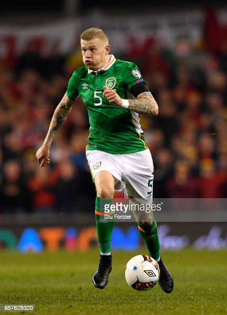 Ireland player James McClean in action during the FIFA 2018 World Cup Qualifier between Republic of Ireland and Wales at Aviva Stadium on March 24...