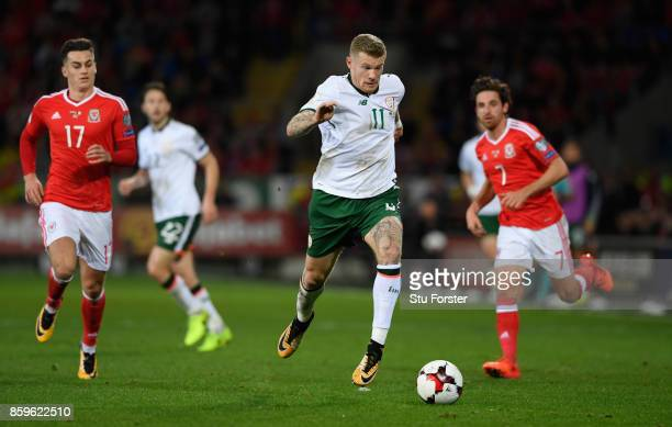 Ireland player James McClean in action during the FIFA 2018 World Cup Qualifier between Wales and Republic of Ireland at Cardiff City Stadium on...