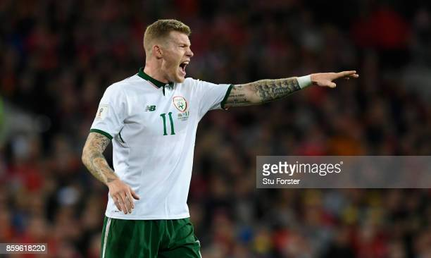 Ireland player James McClean reacts during the FIFA 2018 World Cup Qualifier between Wales and Republic of Ireland at Cardiff City Stadium on October...