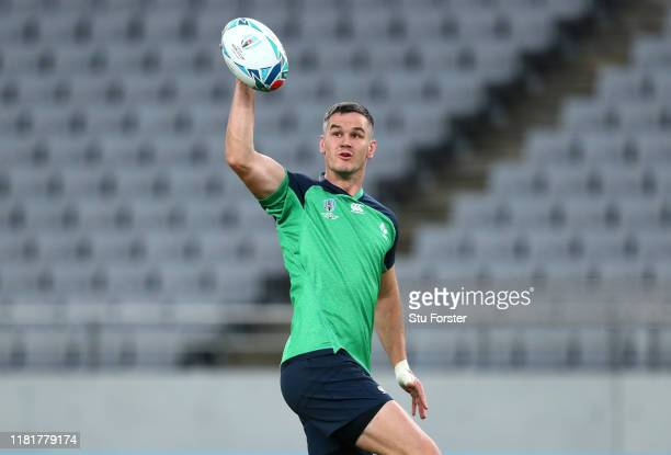 Ireland player Jonathan Sexton in action during the kickers practice session ahead of the 2019 Rugby World Cup Quarter Final match against New...