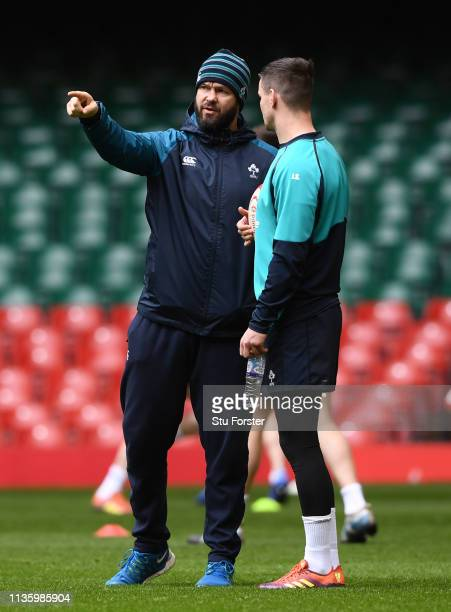 Ireland player Jonny Sexton chats with coach Andy Farrell during training ahead of the Guinness Six Nations match against Wales at Millennium Stadium...