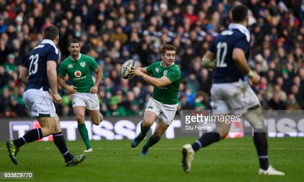Ireland player Paddy Jackson in action during the RBS Six Nations match between Scotland and Ireland at Murrayfield Stadium on February 4 2017 in...