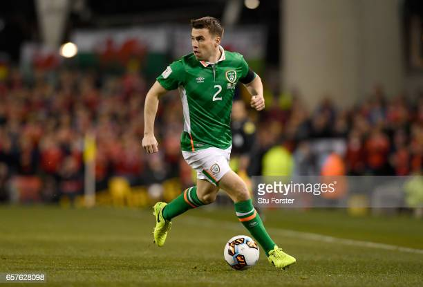 Ireland player Seamus Coleman in action during the FIFA 2018 World Cup Qualifier between Republic of Ireland and Wales at Aviva Stadium on March 24...