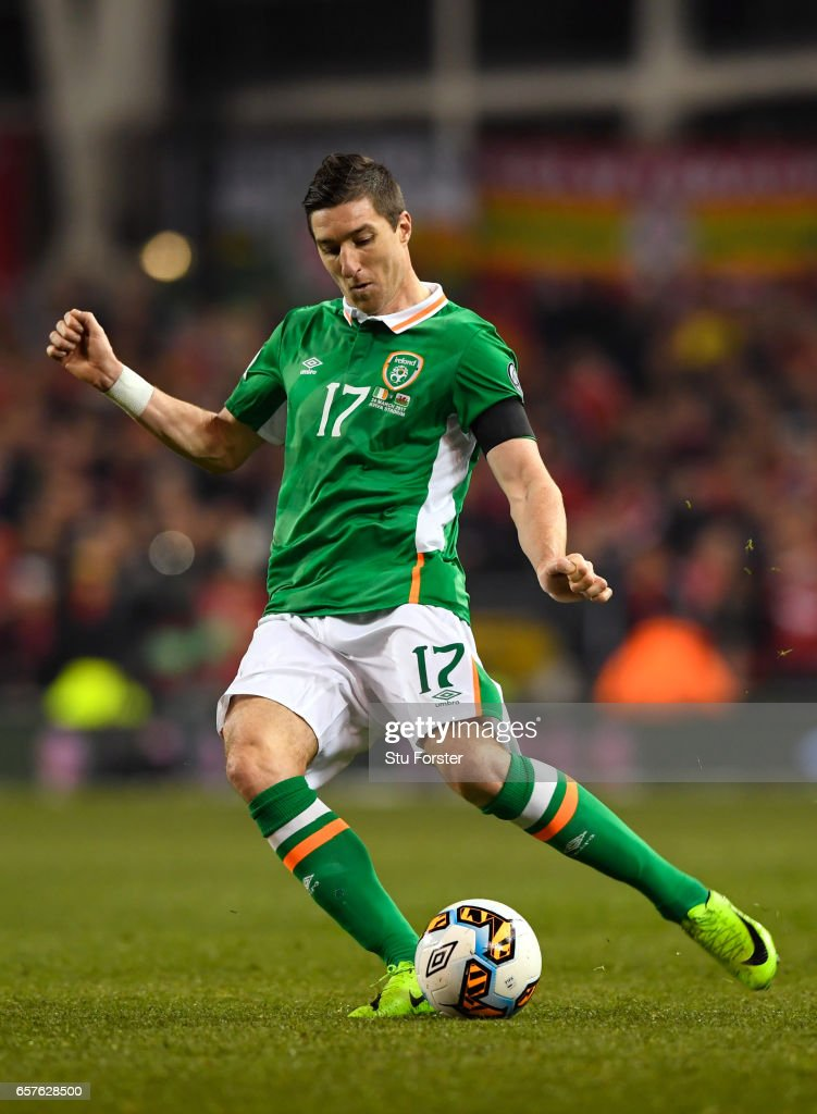 Ireland player Stephen Ward in action during the FIFA 2018 World Cup Qualifier between Republic of Ireland and Wales at Aviva Stadium on March 24, 2017 in Dublin, Ireland.