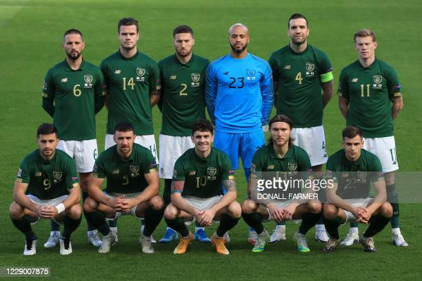 Ireland players, back row from left, Republic of Ireland's midfielder Conor Hourihane, Republic of Ireland's defender Kevin Long, Republic of...