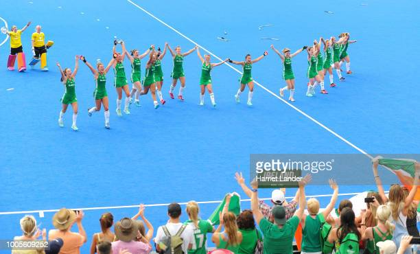 Ireland players celebrate following their team's victory in the Pool B game between India and Ireland of the FIH Womens Hockey World Cup at Lee...