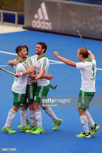 Ireland players celebrate scoring in their match against Belgium on day five of the Unibet EuroHockey Championships at Lee Valley Hockey and Tennis...