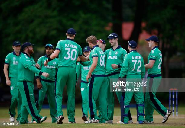 Ireland players celebrate the wicket of Ben Cooper of The Netherlands during the ICC Cricket World Cup Qualifier between Ireland and The Netherlands...