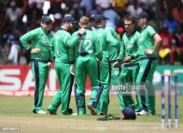 Ireland players celebrate the wicket Of Brendan Taylor of Zimbabwe during The ICC Cricket World Cup Qualifier between Ireland and Zimbabwe at The...