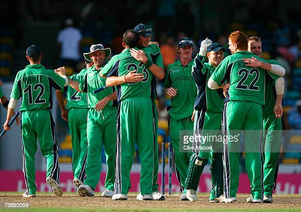 Ireland players celebrate victory against Bangladesh during the ICC Cricket World Cup Super Eights match between Bangladesh and Ireland at the...