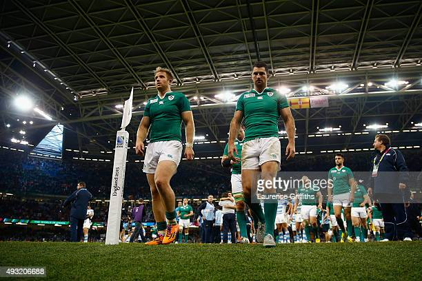 Ireland players leave the field dejected after losing the 2015 Rugby World Cup Quarter Final match between Ireland and Argentina at the Millennium...