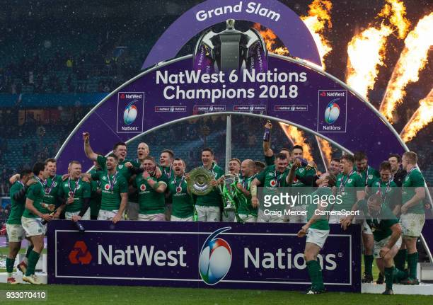 Ireland players lift the winners trophies after the NatWest Six Nations Championship match between England and Ireland at Twickenham Stadium on March...