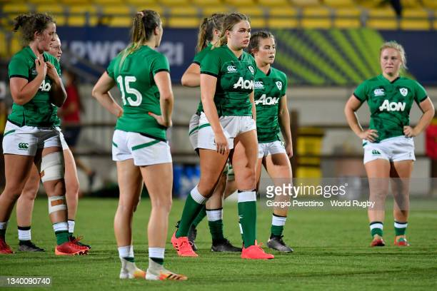 Ireland players look dejected during the Rugby World Cup 2021 Europe Qualifying match between Spain and Ireland at Stadio Sergio Lanfranchi on...