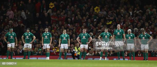 Ireland players look on during the Six Nations match between Wales and Ireland at the Principality Stadium on March 10 2017 in Cardiff Wales