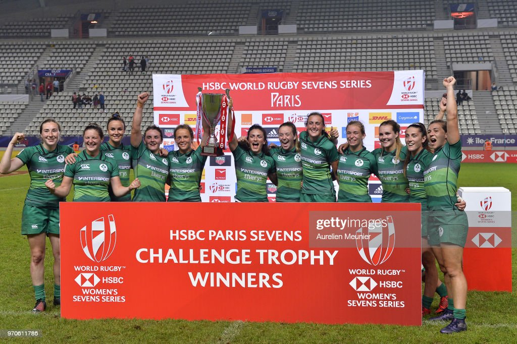 Ireland players pose with the Trophy after winning the Challenge Trophy during match between Ireland and Russi at the HSBC Paris Sevens, stage of the Rugby Sevens World Series at Stade Jean Bouin on June 9, 2018 in Paris, France.