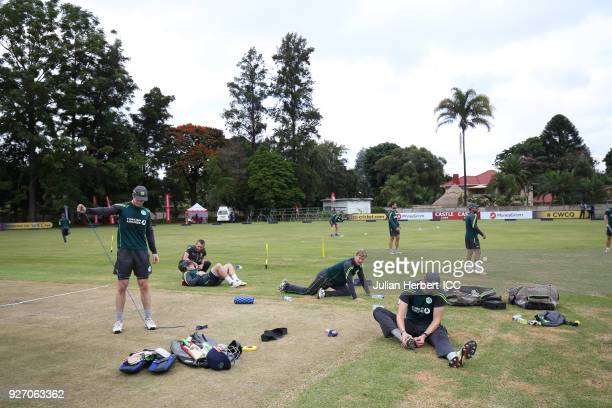 Ireland players warm up before the ICC Cricket World Cup Qualifier between Ireland and The Netherlands at The Old Hararians Ground on March 4 2018 in...