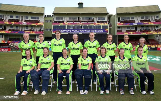 Ireland pose for a group photo during the ICC Women's World T20 2018 match between New Zealand and Ireland at Guyana National Stadium on November 17...