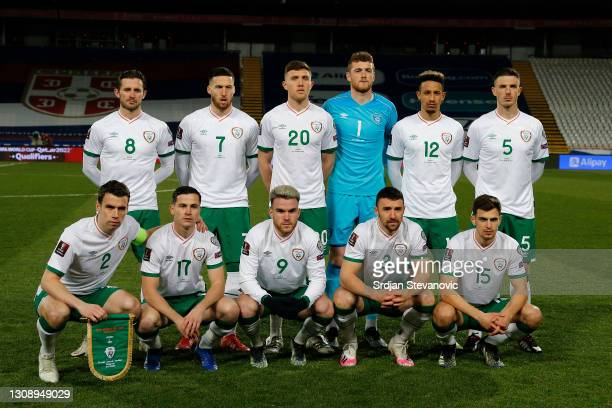 Ireland pose for a team photo prior to the FIFA World Cup 2022 Qatar qualifying match between Serbia and Republic of Ireland on March 24, 2021 in...