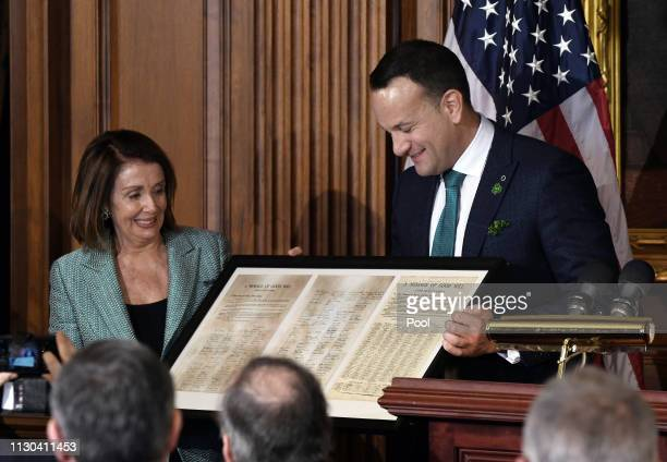 Ireland Prime Minister Leo Varadkar presents a copy of a letter signed by 300 congressmen in 1937 to congratulate Ireland on its new constitution to...