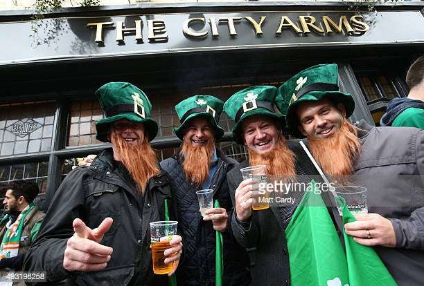 Ireland rugby fans gather close to the Millennium Stadium where Ireland are playing Argentina in the quarter finals of the Rugby World Cup 2015 on...