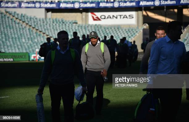Ireland rugby player Bundee Aki arrives to take part in the team's captain's run in Sydney on June 22 ahead of their deciding Test match against...