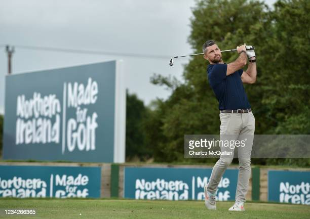 Ireland rugby player Rob Kearney during the Pro Am event at The ISPS HANDA World Invitational at on July 28, 2021 in Ballymena, United Kingdom.