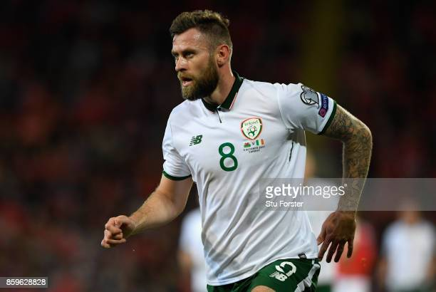 Ireland striker Daryl Murphy in action during the FIFA 2018 World Cup Qualifier between Wales and Republic of Ireland at Cardiff City Stadium on...
