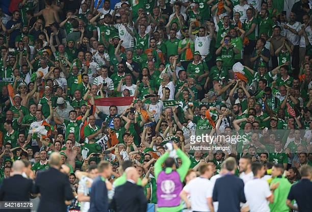 Ireland supporters celebrate their team's 10 win in the UEFA EURO 2016 Group E match between Italy and Republic of Ireland at Stade PierreMauroy on...