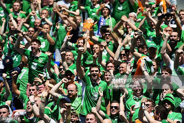 Ireland supporters celebrate their team's first goal during the UEFA EURO 2016 round of 16 match between France and Republic of Ireland at Stade des...