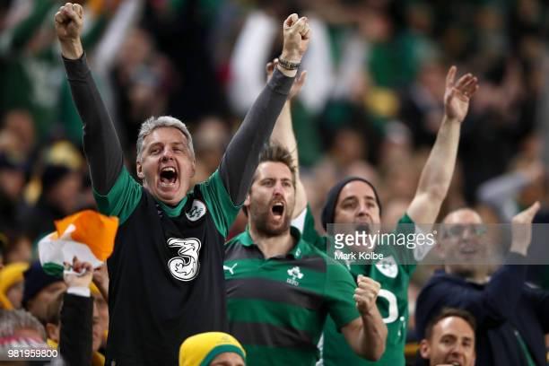 Ireland supporters cheer during the Third International Test match between the Australian Wallabies and Ireland at Allianz Stadium on June 23 2018 in...