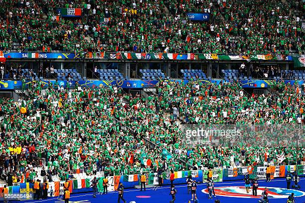 Ireland supporters cheer prior to the UEFA EURO 2016 Group E match between Republic of Ireland and Sweden at Stade de France on June 13 2016 in Paris...