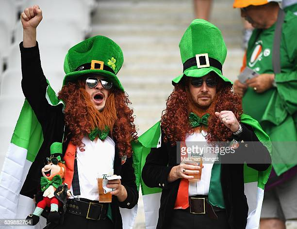 Ireland supporters enjoy the atmosphere prior to the UEFA EURO 2016 Group E match between Republic of Ireland and Sweden at Stade de France on June...