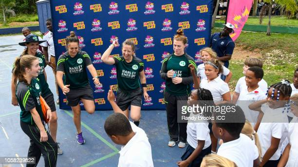 Ireland team members take part in the Schools and Community Outreach Program session at Island Academy on November 6 2018 in Buckleys Antigua and...
